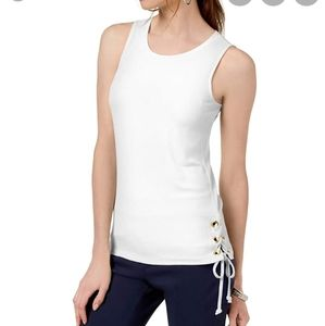 INC Tank Top White Lace-Up Side Tie Sleeveless